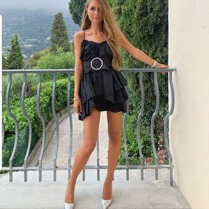 Zara strappy ruffled dress w belt